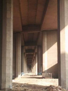 Perspective of ring road bridge foundations in the Island