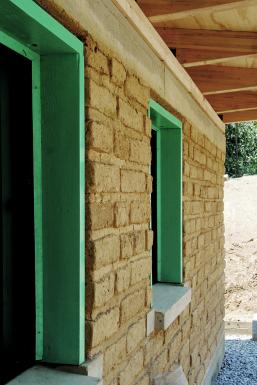 windows in adobe wall