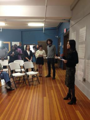 Students presenting at community design charrette.