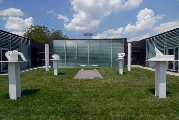 The building wraps around the Galileo's Garden sculpture