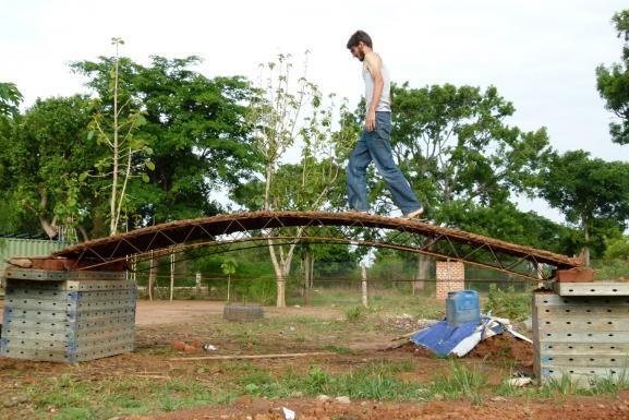 David, testing mud-steel-ceiling prototype