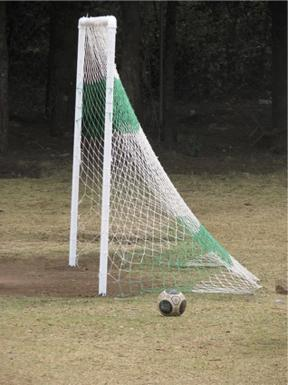 Goal, childen knitted the net