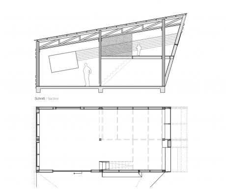 preschool-room, floorplan and section