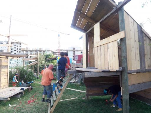 on the affiliated adventure playground, kids can build simple wooden constructions under supervision of instructors