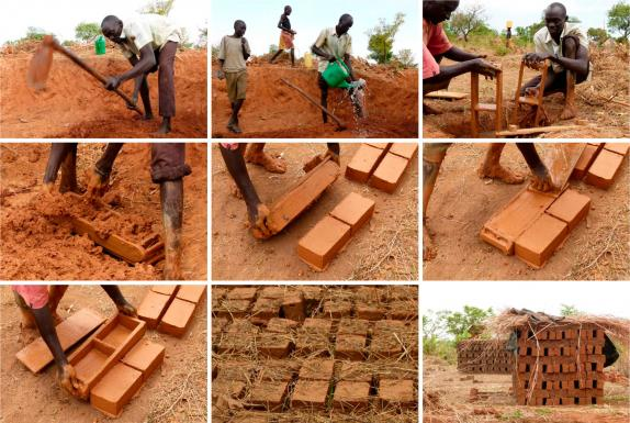 laying 40.000 mud-bricks